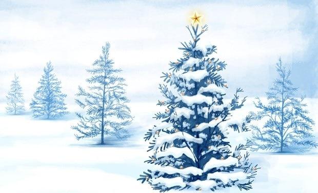 Pohlednice, zobrazující zasněženou kreslenou krajinu se zlatou hvězdou, zdobící strom v popředí.