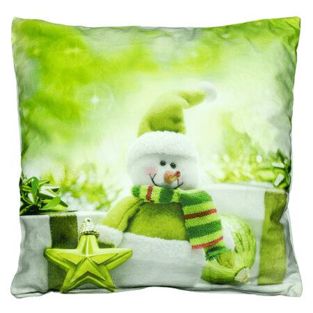 Zelený povlak na polštář se sněhulákem.