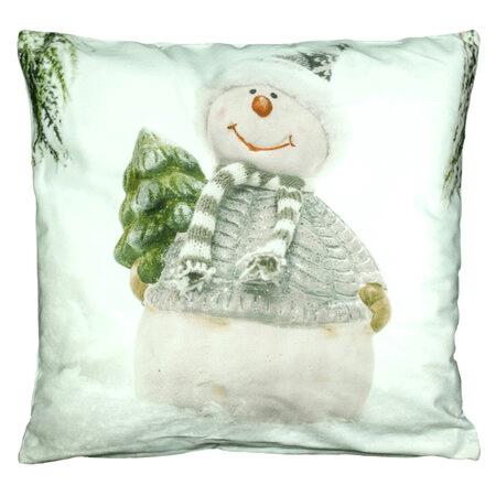 Vánoční povlečení na polštář se sněhuláčkem.
