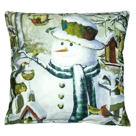 Malovaný obal na polštář se sněhulákem.
