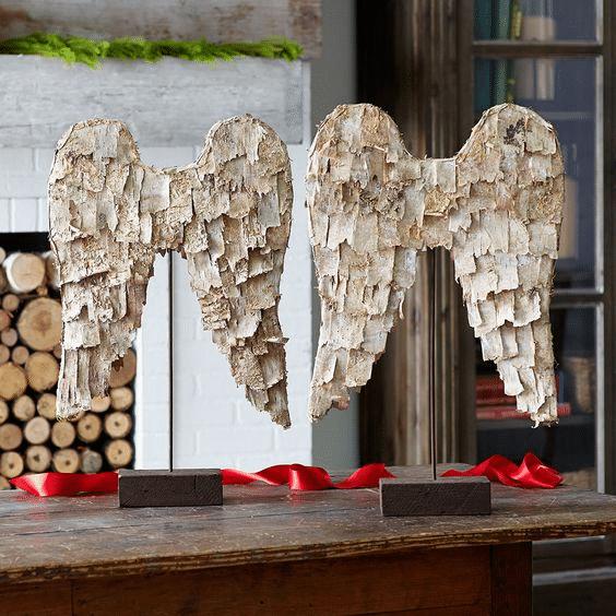 Andělská křídla z březové kůry- návod na výrobu originální vánoční dekorace.
