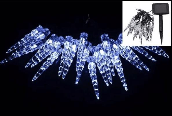 studeně bílé solární rampouchy