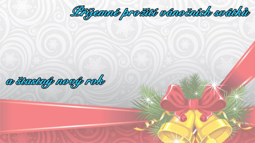"""Obrázkové vánoční přání s šedo-červeným pozadím, zvonečky s mašlí a s nápisem """"Příjemné prožití vánočních svátků a šťastný nový rok""""."""