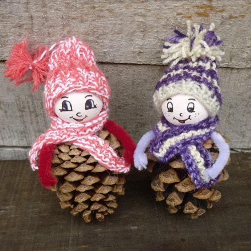 Krásné a jednoduché panenky ze šišek