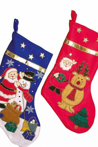 Vánoční ponožky na krb v sadě