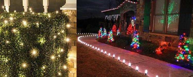 Solární vánoční osvětlení na keři či jako skvělé zpestření chodníku.