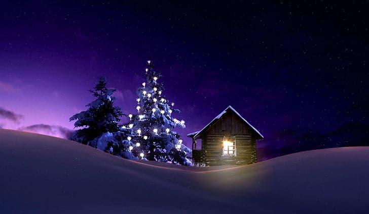 Vánoční tapeta se stromkem.
