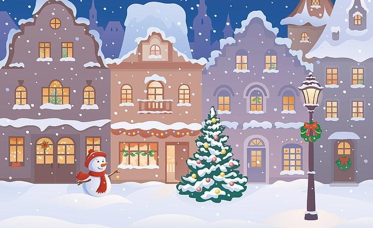 Ilustrovaný obrázek s vánonční atmosférou.