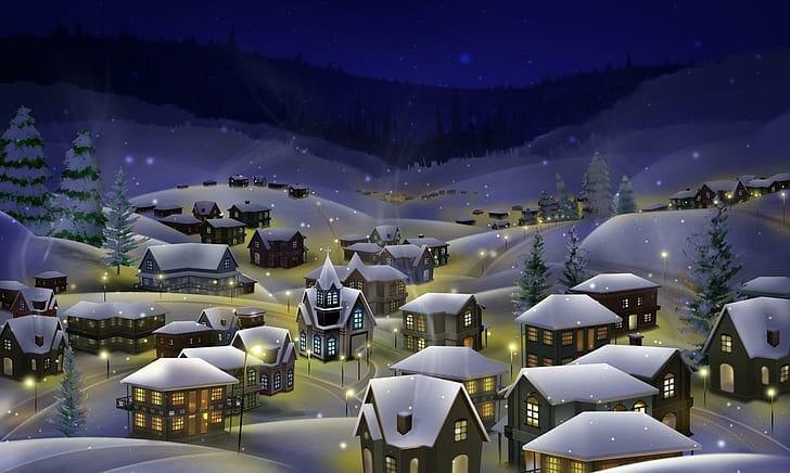 Obrázky s motivy Vánoc jsou plné světla a sněhu.