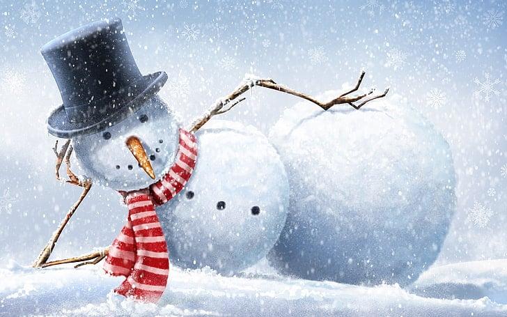 Sněhulák jako vtipný vánoční obrázek.