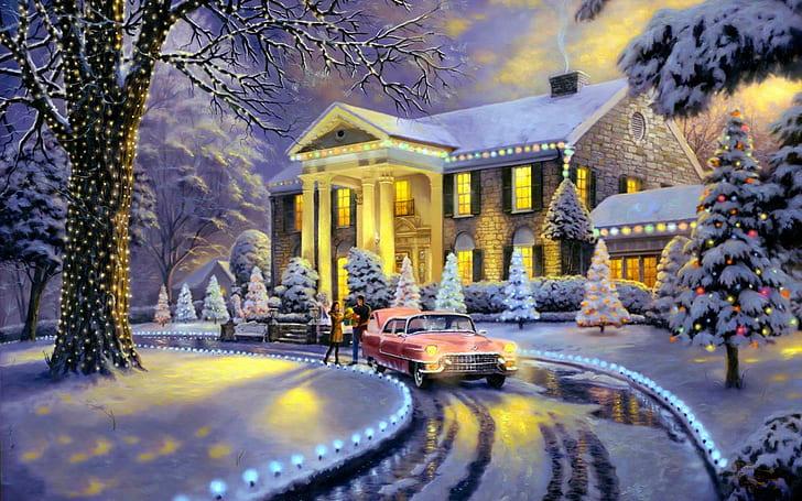 Další malovaný obrázek plný sněhu.