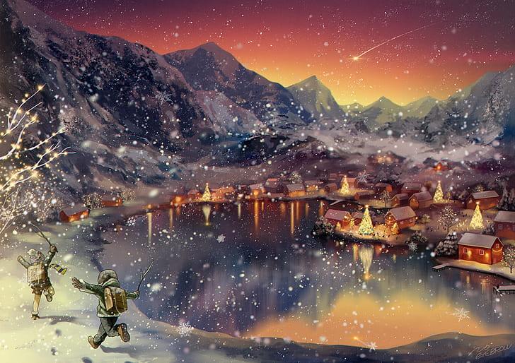 Malovaný obrázek se zimní krajinou.