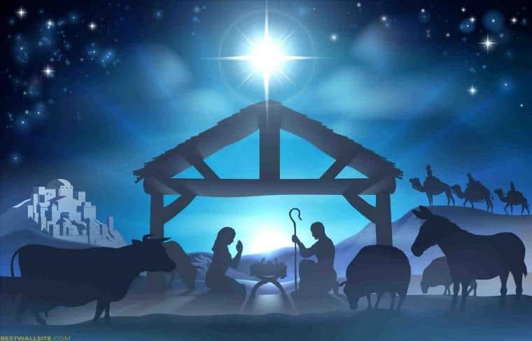 Vánoční obrázek s betlémem.