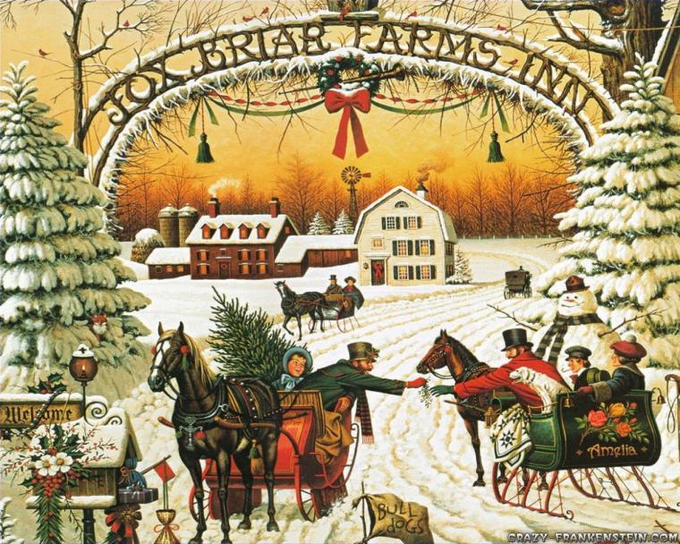 Retro vánoční obrázek.