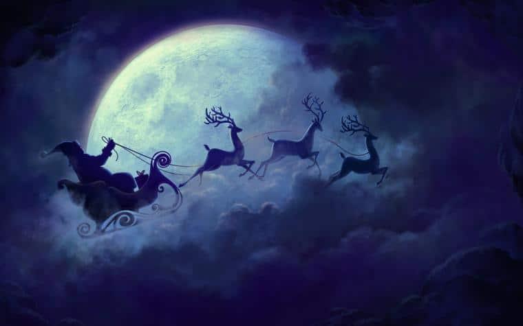 Kouzelný obrázek Santy jedoucího na Štědrý večer na saních.