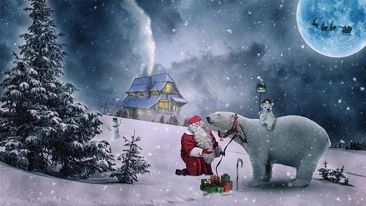 Ilustrovaný vánoční obrázek se Santou.