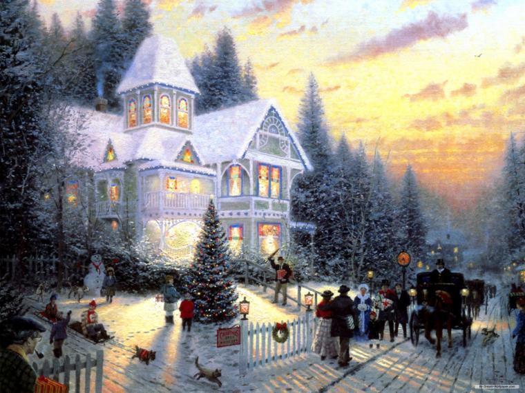 Kreslený vánoční obrázek s příběhem.