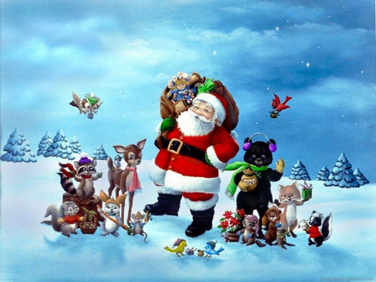 Vánoční obrázek se Santou a jeho přáteli.
