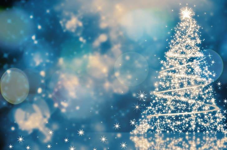 Vánoční ilustrace se stromečkem.