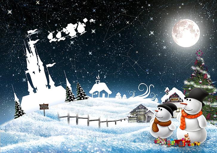Vánoční obrázek se sněhuláky.