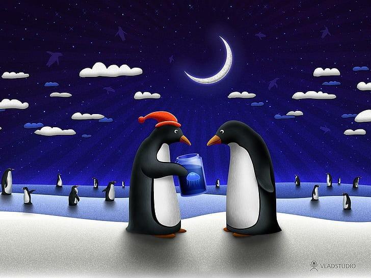 Pěkný vánoční obrázek s tučňáky.