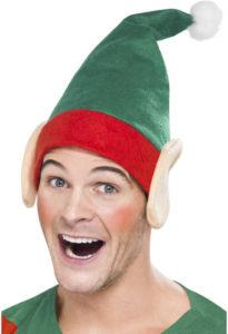 Vánoční čepka s elfím vzhledem.