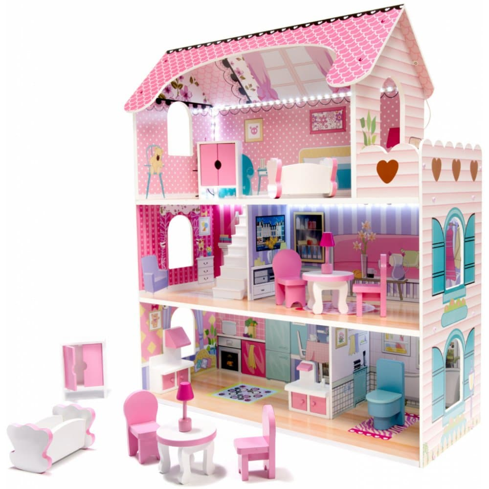 Dřevěný domeček pro panenky s nábytkem.