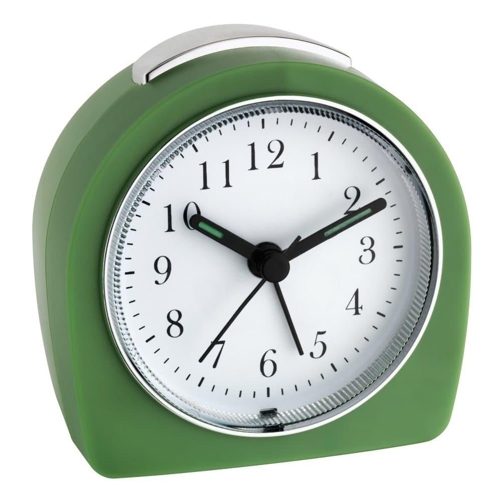Zelený retro elektronický budík.