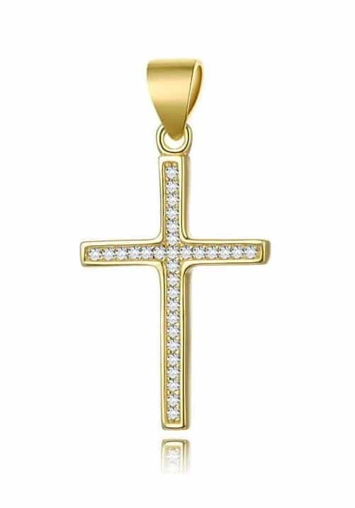 Pozlacený přívěsek tvaru křížku.