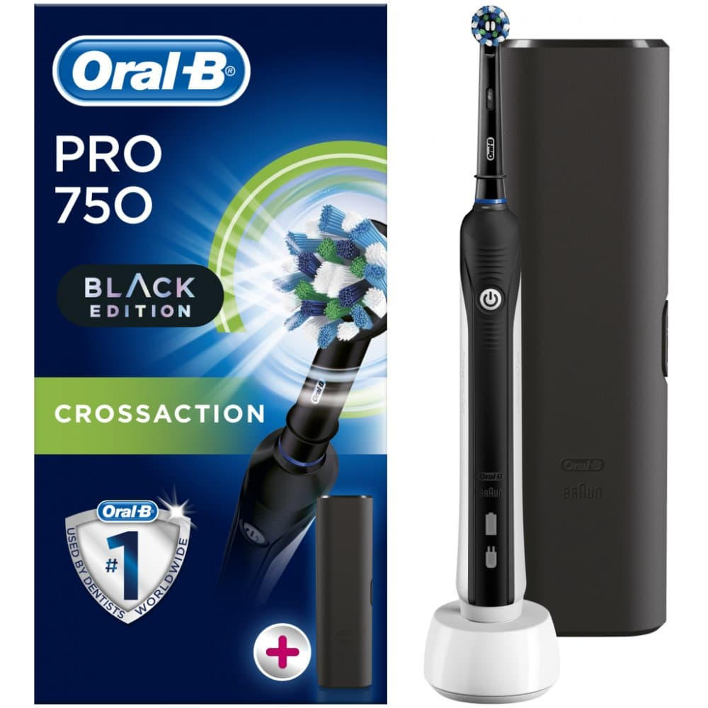 Elektrický zubní kartáček Oral-B černé barvy.