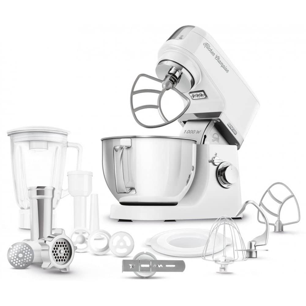 Bílý kuchyňský robot Sencor s příslušenstvím.