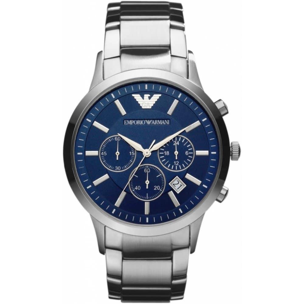 Stříbrné pánské hodinky Emporio Armani.